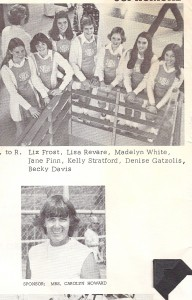 The Sophomore Cheerleaders, 1975, Carolyn below.