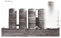 Photo of the towering Maple Hill silos taken July 4, 1912