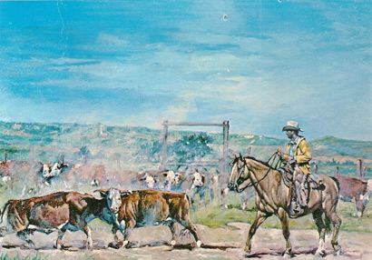 Keith Avery portrait of Raymond Adams herding cattle on the Cimarron, hangs at Wall Drug, South Dakota