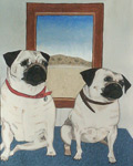 Painting of two fawn colored pug dogs in front of a window with a                                         western Kansas backdrop