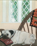 Painting of a fawn colored pug laying on an Indian blanket in a willow                                         chair