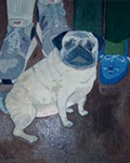 Painting of a fawn pug on the floor in front of two people's                                     legs