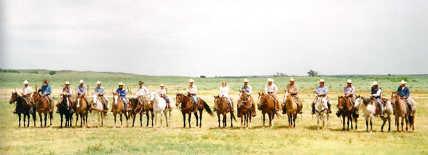 XIT Branding lineup, everyone on horseback lined up