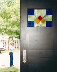 Stained glass front door on the Cottonwood Falls project